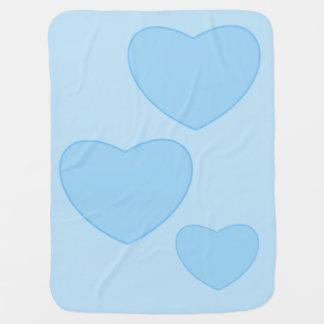 Couvertures Pour Bébé Couverture bleue de bébé de coeurs