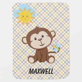 Couvertures Pour Bébé Couverture personnalisée de bébé de singe