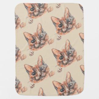 Couvertures Pour Bébé Dessin de chat, couverture mignonne de bébé de