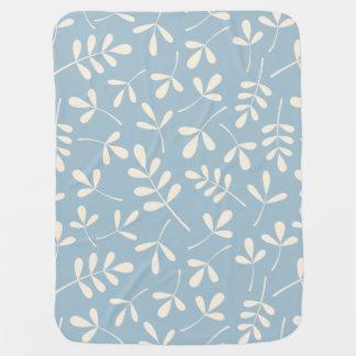 Couvertures Pour Bébé Feuille crème assorti sur le motif bleu