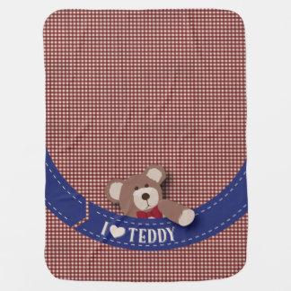 Couvertures Pour Bébé Guingan de rouge de pique-nique d'ours de nounours