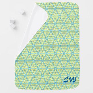 Couvertures Pour Bébé Initiales bleues de motif de triangle