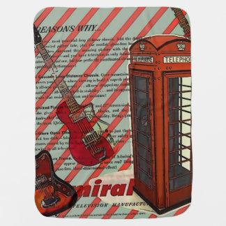 Couvertures Pour Bébé J'aime la cabine téléphonique rouge de guitare