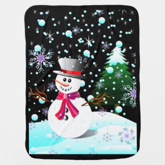 Couvertures Pour Bébé Joyeux Noël de bonhomme de neige
