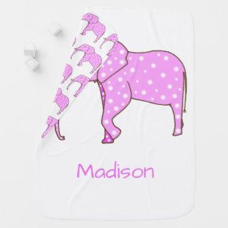 Couvertures Pour Bébé Les points blancs d'éléphant rose ont personnalisé