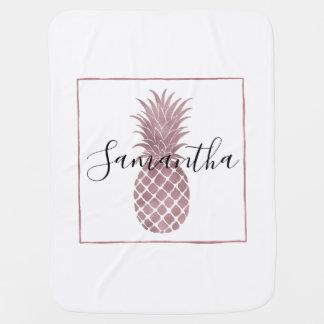 Couvertures Pour Bébé L'or rose pointille des ananas