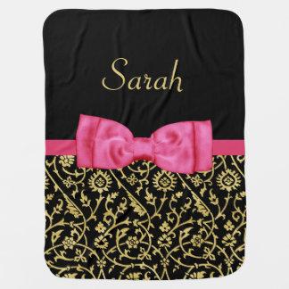 Couvertures Pour Bébé Nom floral de bébé de damassé d'arc d'or rose