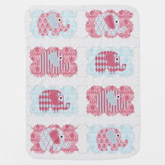 Couvertures Pour Bébé Rayures chics minables de damassé d'éléphants de