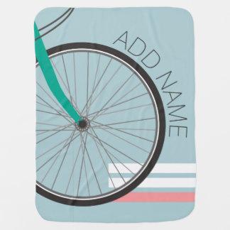 Couvertures Pour Bébé Roue de bicyclette de hippie avec le nom fait sur