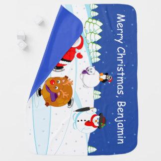 Couvertures Pour Bébé Scène de neige patinage du père noël et de Rudolph