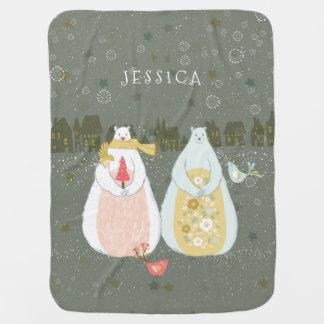 Couvertures Pour Bébé Scène mignonne d'hiver d'oiseaux et d'ours de Noël
