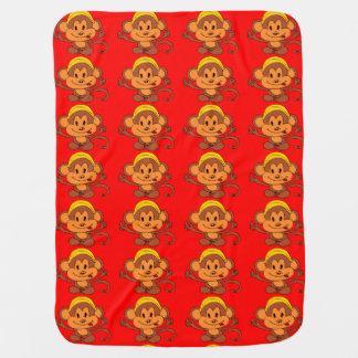 Couvertures Pour Bébé Singe espiègle mignon avec le rouge/Brown de