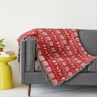Couvertures Rouge de motif de Noël de silhouettes de whippet