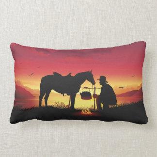 Cowboy et cheval au coussin lombaire de coucher du