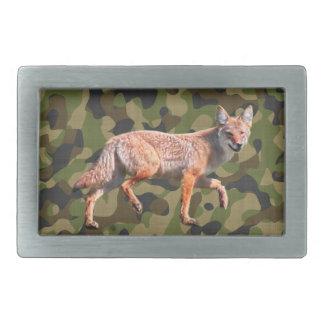 Coyote de chasse sur Camoflage BG - chacal Boucles De Ceinture Rectangulaires