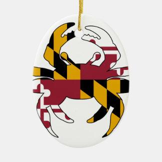 Crabe de drapeau du Maryland Ornement Ovale En Céramique