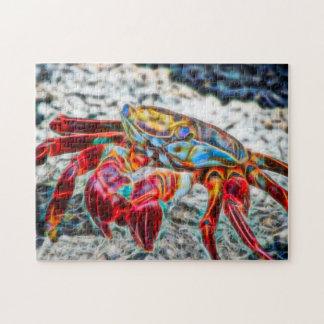 Crabe sur la fractale du feu rouge de vie marine puzzle