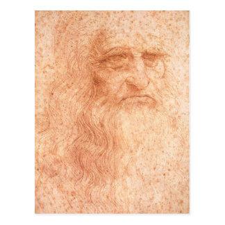 Craie de rouge d'autoportrait de Leonardo da Vinci Carte Postale