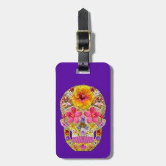 Crâne 4 de fleur - tropical étiquette pour bagages