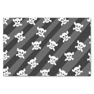 Crâne blanc et os croisés sur les rayures noires papier mousseline