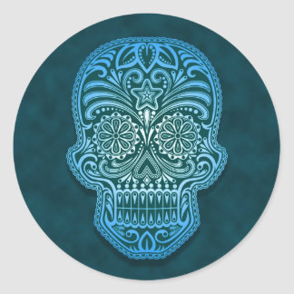 Crâne bleu complexe de sucre autocollant rond