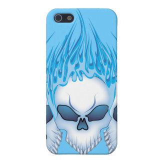 Crâne bleu de flambage coques iPhone 5