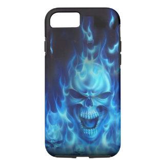 Crâne bleu du feu coque iPhone 7