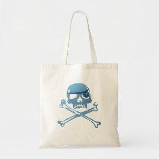 Crâne bleu et os croisés de pirate. Sacs