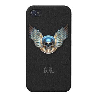 Crâne de chrome et cas d'iPhone 4 d'ailes Coque iPhone 4