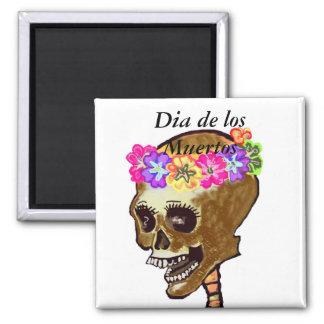 Crâne de Dia de los Muertos Aimants Pour Réfrigérateur