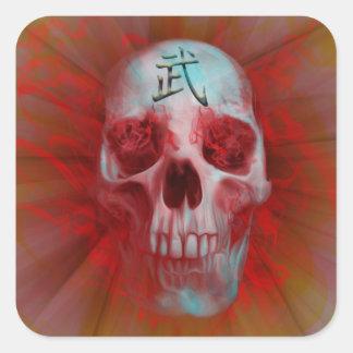 Crâne de kanji de guerrier sticker carré