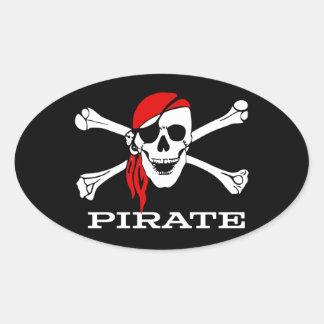 Crâne de pirate et autocollant ovale #1 d'os