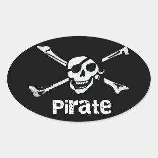 Crâne de pirate et autocollant ovale #2 d'os