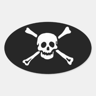Crâne de pirate et autocollant ovale #3 d'os