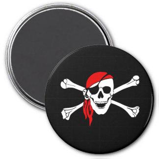 Crâne de pirate grand, aimant rond de 3 pouces
