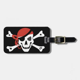 Crâne de sourire simple de pirate avec votre texte étiquette à bagage