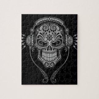 Crâne de sucre du DJ, foncé Puzzle