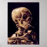 Crâne de Van Gogh avec la cigarette brûlante Poster