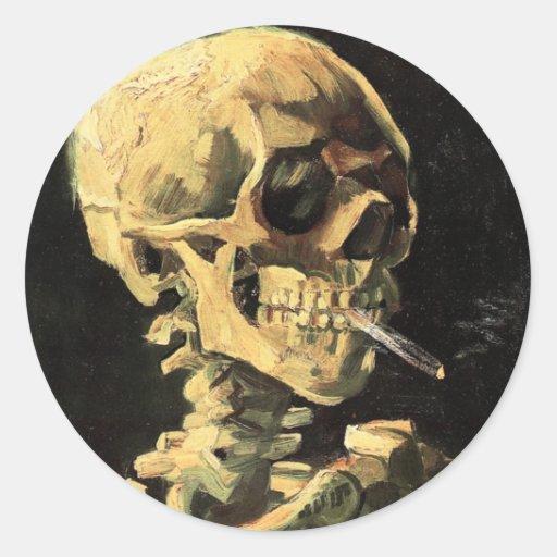 Crâne de Van Gogh avec l'aimant brûlant de cigaret Autocollant