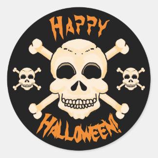 Crâne et autocollants de Halloween d'os croisés