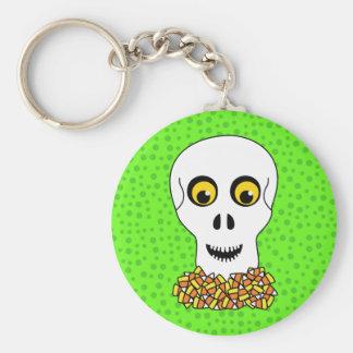 Crâne et bonbons au maïs Halloween Porte-clés