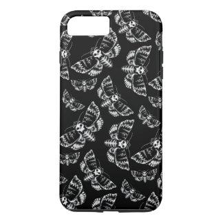 Crâne gothique noir et gris de mite de faucon de coque iPhone 8 plus/7 plus