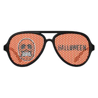 Crâne Halloween - orange et noir 2 Lunettes De Fête Aviateur