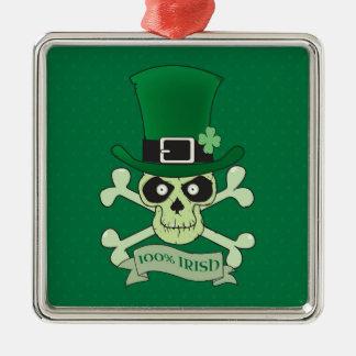 Crâne irlandais chanceux de 100% Irish.Green Ornement Carré Argenté