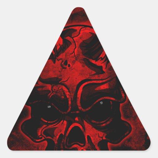 Crâne mauvais sticker en triangle