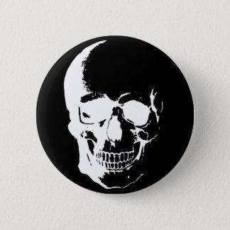 Crâne noir et blanc badge rond 5 cm