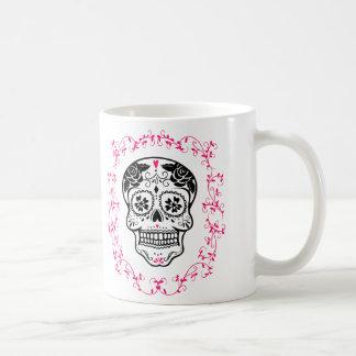 Crâne personnalisé de sucre de hippie mug blanc