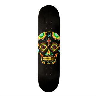 Crâne polychrome de sucre skateboards personnalisables