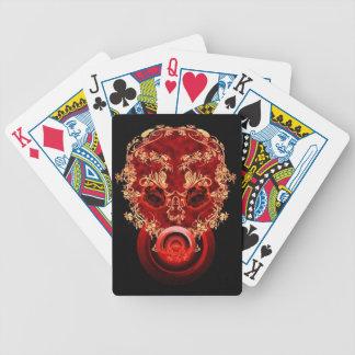 Crâne rouge de fleur jeux de cartes