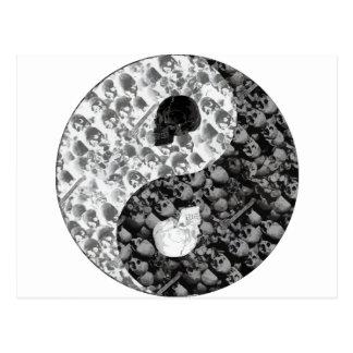 Crâne Yin Yang Carte Postale